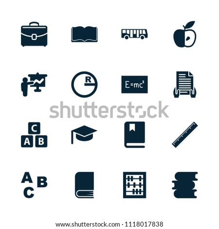 School icon. collection of 16 school filled icons such as airport bus, abc cube, book, abc, abacus, circle, apple, case, teacher. editable school icons for web and mobile.