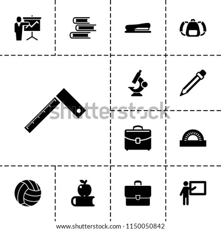 School icon. collection of 13 school filled icons such as teacher, apple on book, case, pencil, stapler, volleyball, ruler, book. editable school icons for web and mobile.