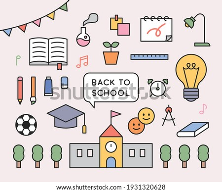 School icon collection. School supplies, books, and buildings objects. flat design style minimal vector illustration.