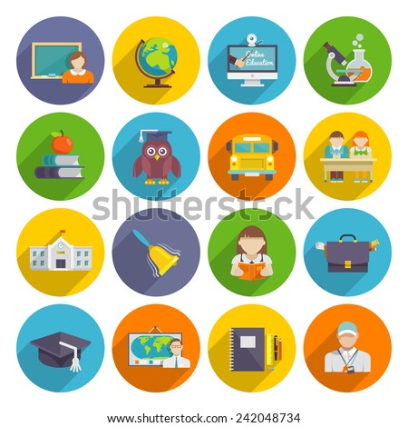 School icon flat set with blackboard laptop students isolated vector illustration - stock vector