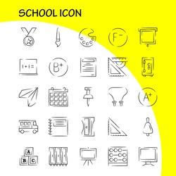 School Icon Hand Drawn Icon Pack For Designers And Developers. Icons Of Education, File, Paper, School, Art, College, Paint, Painting, Vector