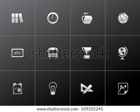 School icon series in metallic style