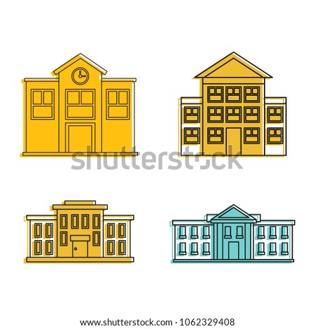 School icon set. Color outline set of school vector icons for web design isolated on white background