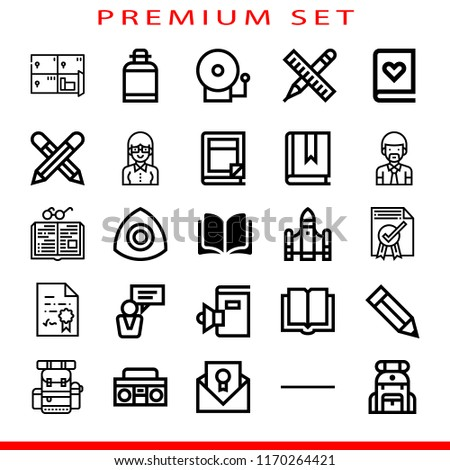 school icon set. pencils,certificate,substract,radio cassette,backpack concept. Modern outline icons. outline style bestseller illustrations.