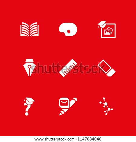 school icon set. ruler, pen and open book vector icon for graphic design and web