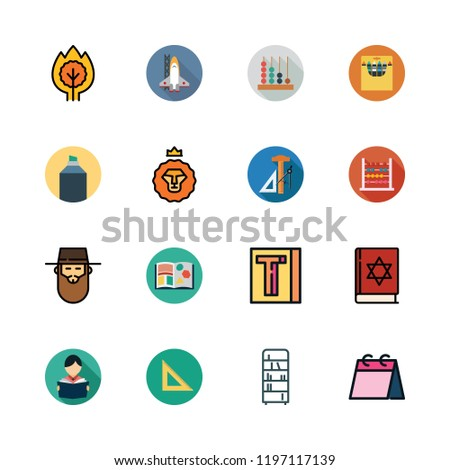 school icon set. vector set about set square, highlighter, bookshelf and student icons set.