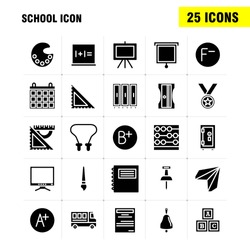 School Icon Solid Glyph Icon Pack For Designers And Developers. Icons Of Education, File, Paper, School, Art, College, Paint, Painting, Vector