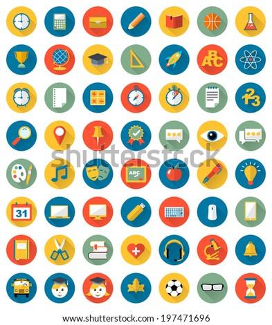 School icons flat design vector set