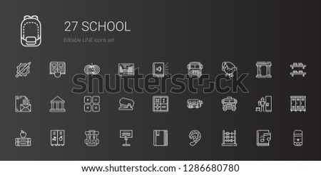 school icons set. Collection of school with abacus, paint palette, book, holder, backpack, locker, books, school bus, bus, math, stapler, maths. Editable and scalable icons.