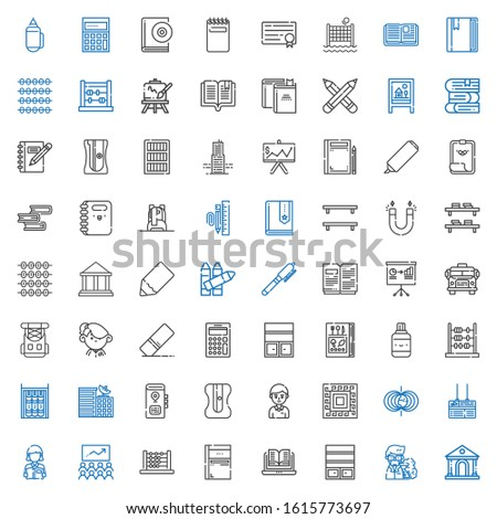 school icons set. Collection of school with museum, professor, bookshelf, open book, sketchbook, abacus, class, reading, board, magnetic field. Editable and scalable school icons.