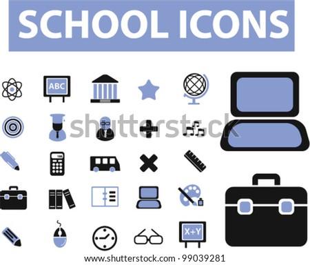 school icons set, vector