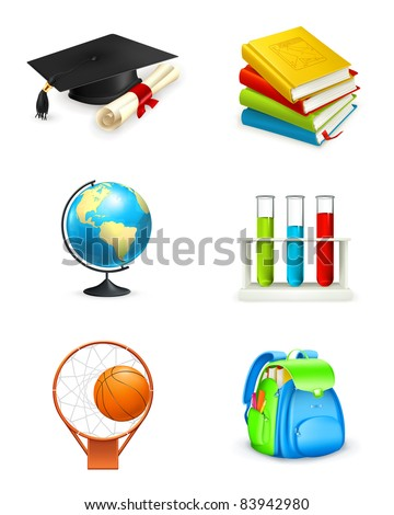 School icons, vector