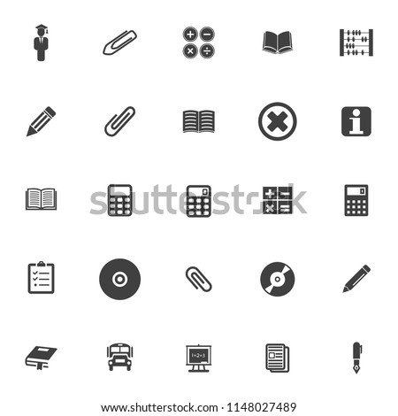 school Icons, vector education icons, university graduation icons, learning diploma