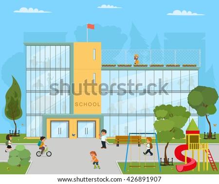 School illustration. School kids uniform, school garden, school playground.School vector background. school building.  Opened school, school view landscape.  - stock vector