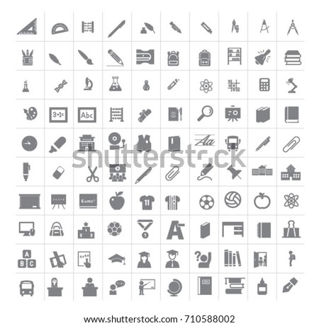 School items or stationary vector icons set
