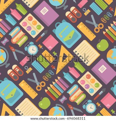 school items seamless pattern
