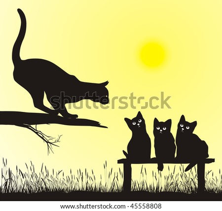 School jumping cat, vector illustration