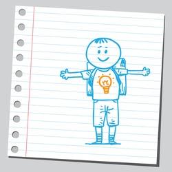 School kid with lightbulb on y-shirt