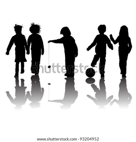 school kids friends silhouettes, girls and boys over white