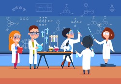 School kids in chemistry lab. Children in science laboratory make test. Cartoon pupils girls and boys in class. Vector illustration. Chemistry school lab experiment, science laboratory for education