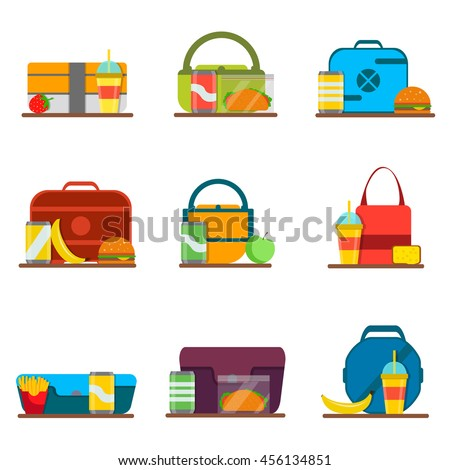 School kids lunch bags set with hamburger, fries, soda and other food, isolated on white background. Vector