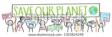 School kids protesters, climate change, save our planet, stick figures holding up billboards demonstrating, isolated on white background