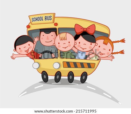 school kids ride the school bus