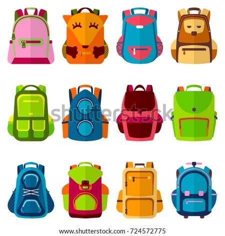 School kids school backpack Back to School rucksack vector illustration