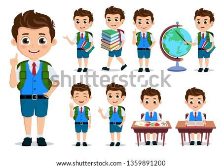 School kids student vector characters set. Back to school boy cartoon characterswith school uniform talking and doing educational activities. Vector illustration.