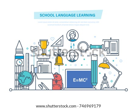 School language learning concept. Language school training program, study foreign language abroad, internet lessons. Learning technologies, remote online courses. Illustration thin line design.