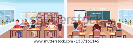 school lesson female teacher with pupils set front back view of classroom modern school interior education concept horizontal banner full length flat