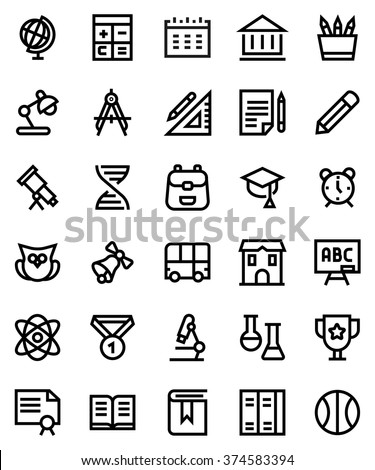 School line icon set. Pixel perfect fully editable vector icon suitable for websites, info graphics and print media.