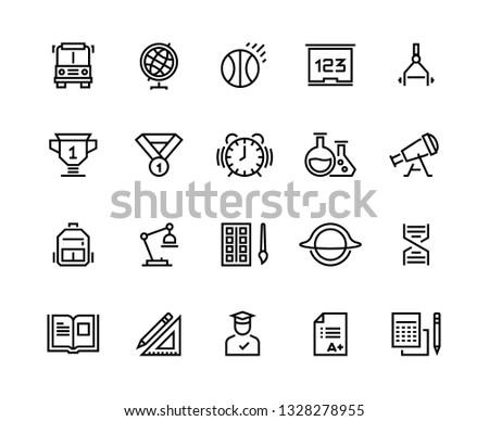 School line icons. Geometry geography physics chemistry school disciplines. School graduation and university education vector symbols set