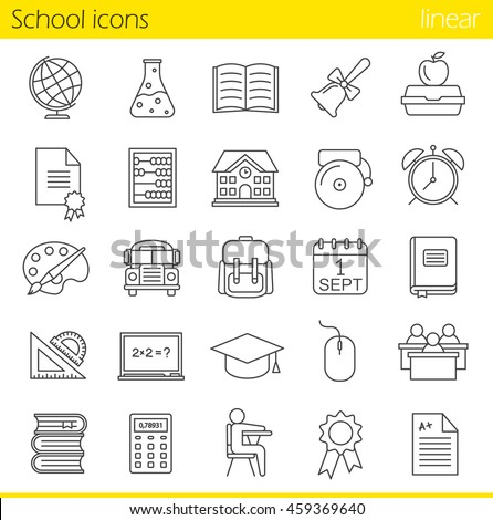 School linear icons set. Class register, calculator, pupils, school bus, bell and building. Open textbook, abacus, rulers, backpack, calendar and academic cap. Thin line. Isolated vector illustrations