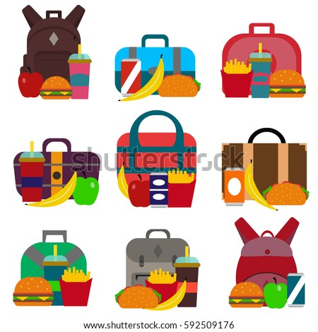 School lunch bags set with hamburger, fries, soda and other food, isolated on white background. Kids healthy fruit lunchbox container in school. Children lunch box time vector.