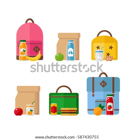 School lunch box and backpack icons isolated on white background. Healthy food. Flat vector illustration design.