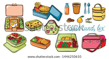 School lunch box set: container, veggie shooter, fast food, berries porridge, thermos, handbag, thermo bag,cookies with chocolate, pear, sweets,  fresh juice in a bottle. Color vector sketch.