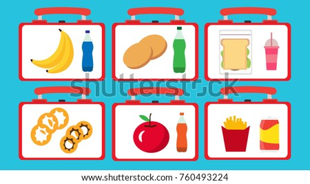 School lunch boxes set. Children's lunch bags and trays with hamburgers, soda, fruts, potato, cake. Kids school lunches icons in flat style. Vector illustration.