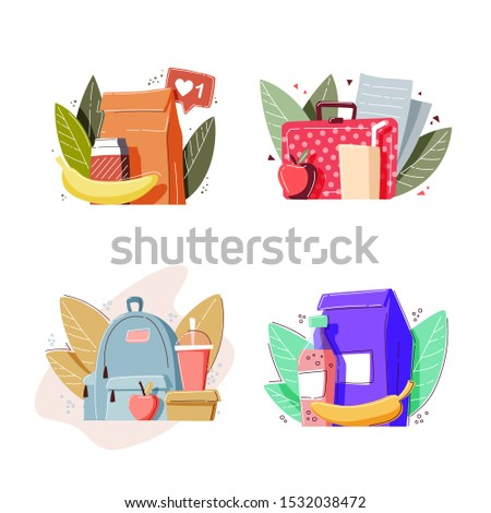 School lunch boxes set. Healthy and nutritional food meals for kids breakfast in lunchbox plastic fruit bags of apples.