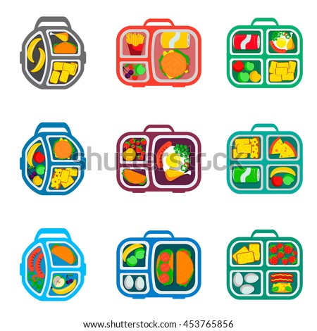 School lunch boxes set, vector illustration. Healthy food for students in tray collection. Hamburgers and veggies, fruits and drinks, pizza and eggs in bags.