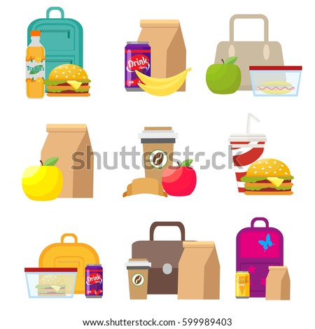 School lunch food boxes and kids bags. Vector, illustration in flat style isolated on white background EPS10.