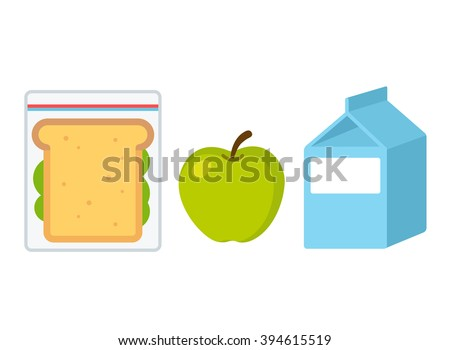 School lunch set: sandwich, apple and milk. Flat cartoon vector style illustration.