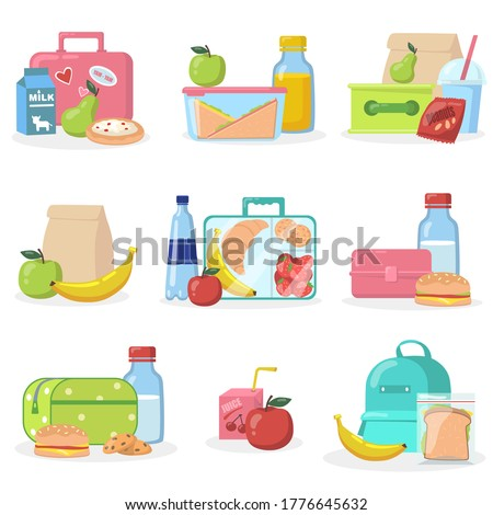 School lunchboxes with snacks flat icon set. Cartoon apple, juice, cookie, muffin and bread in box vector illustration collection. Eating and healthy food concept