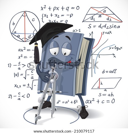 School mathematics textbook draw a circle pair of compasses on formula background