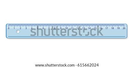 School measuring plastic ruler 20 centimeter in blue color