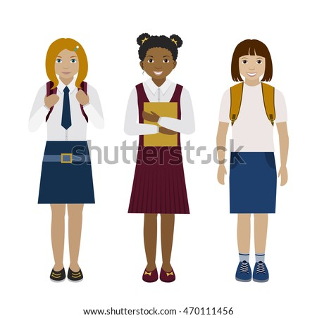 school multiethnic girls in