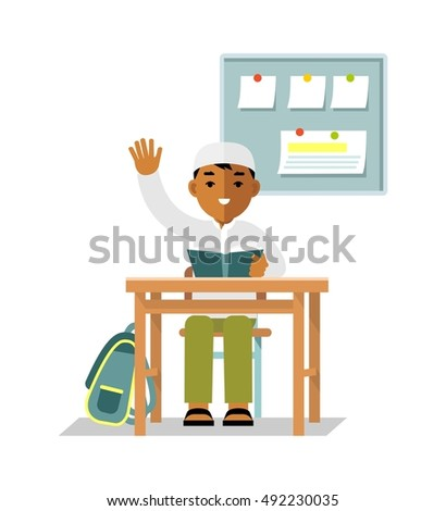 School muslim children pupil in flat style. Student islamic boy sit at desk in classroom isolated on white background