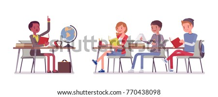 School normal behaviour. Satisfactory, proper and polite conduct in classroom during lesson, students with discipline organized activity. Vector flat style cartoon illustration isolated on white