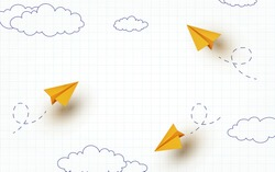 School notebook background. 3d flying yellow paper airplanes. Vector cartoon children planes in air