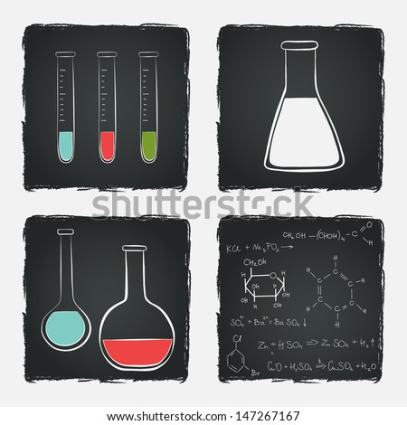 School notebook doodles with chemical formulas, flasks and chemical reagents on chalkboard background. Hand drawn illustration.